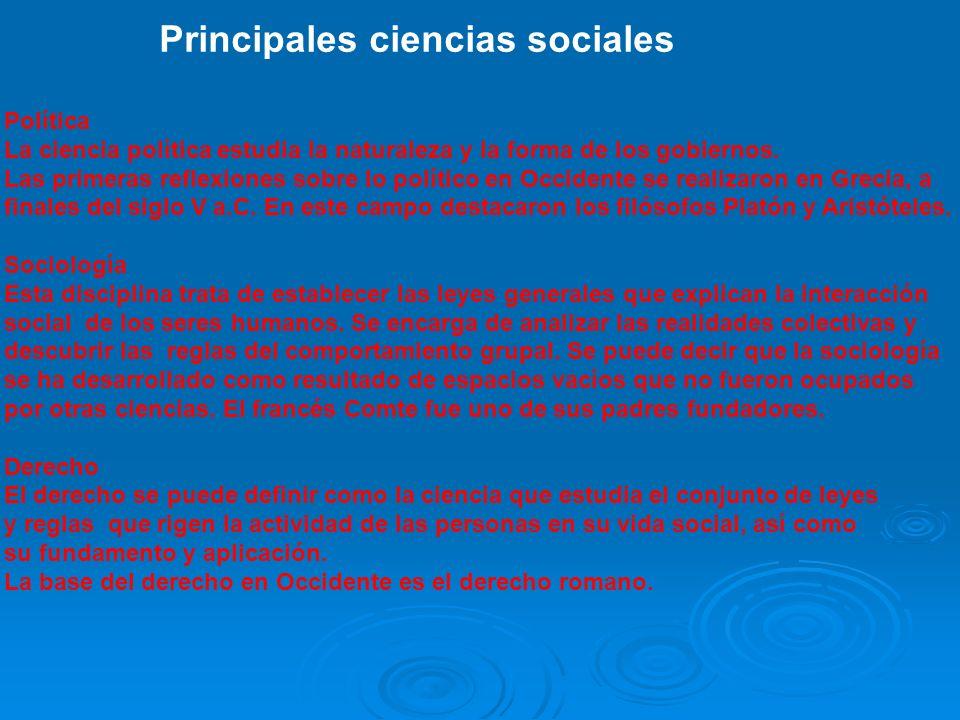 Principales ciencias sociales
