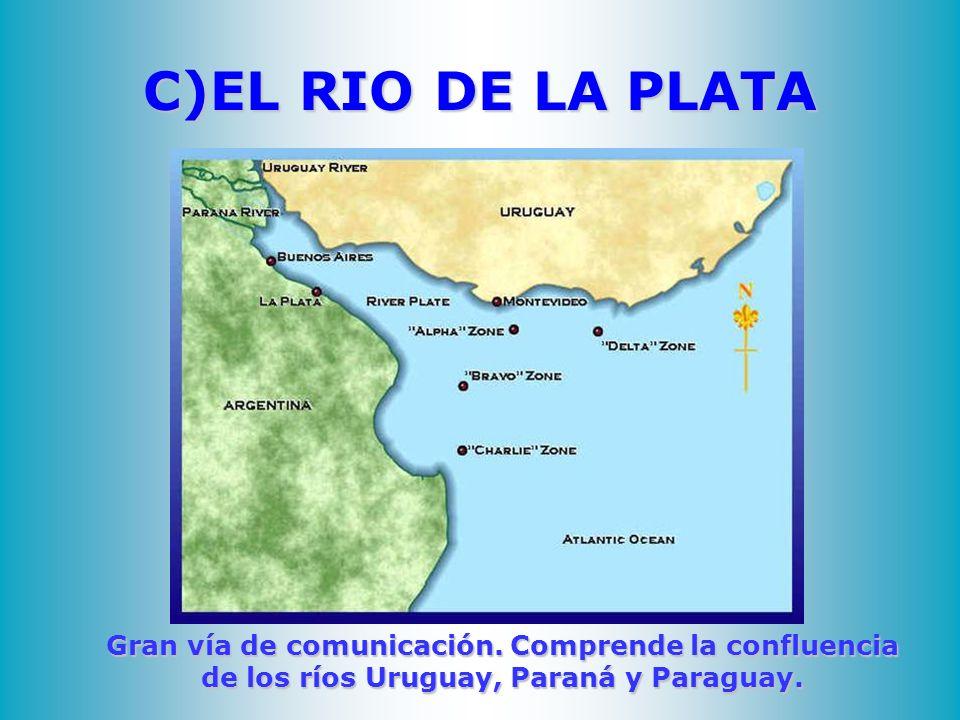C)EL RIO DE LA PLATA Gran vía de comunicación.