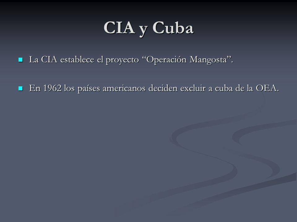 CIA y Cuba La CIA establece el proyecto Operación Mangosta .
