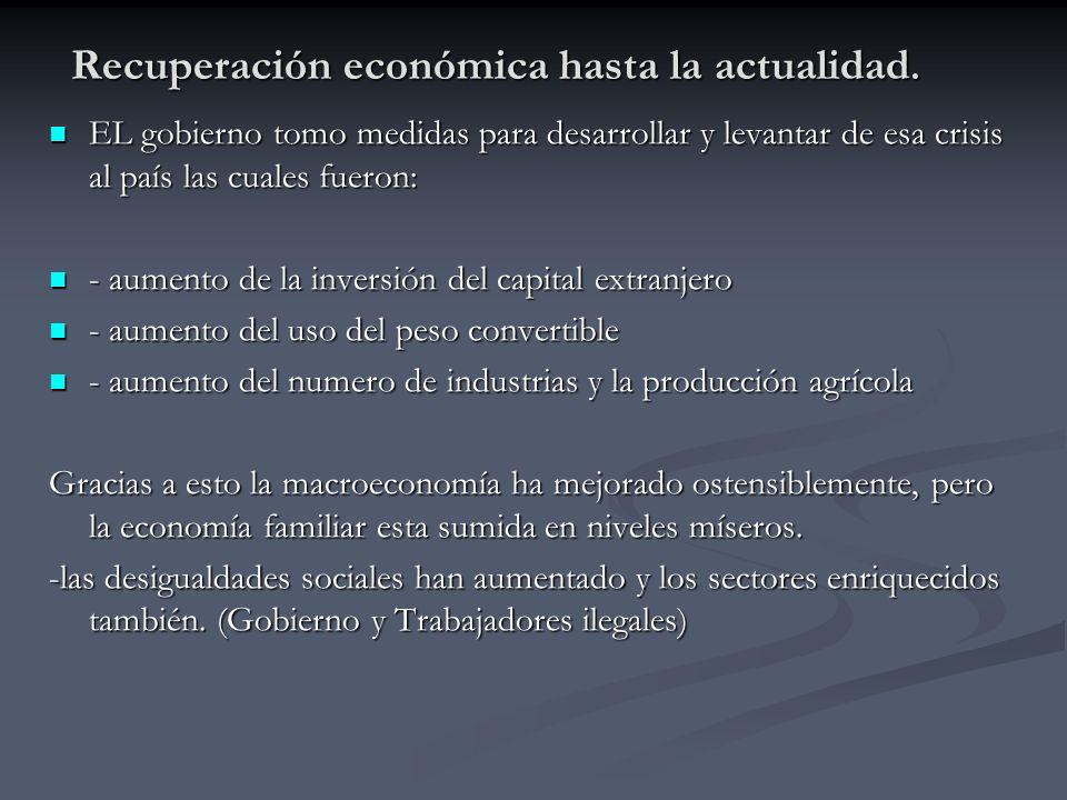 Recuperación económica hasta la actualidad.