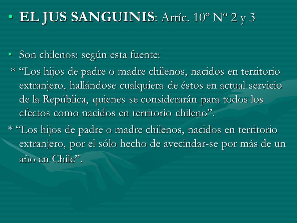 EL JUS SANGUINIS: Artíc. 10º Nº 2 y 3