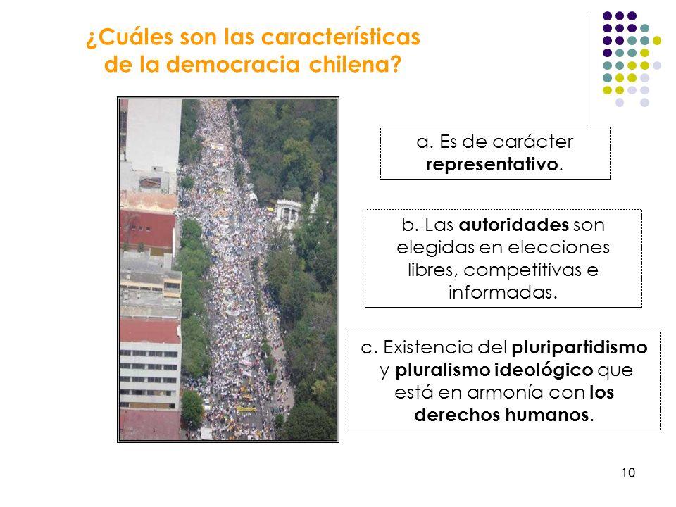 ¿Cuáles son las características de la democracia chilena