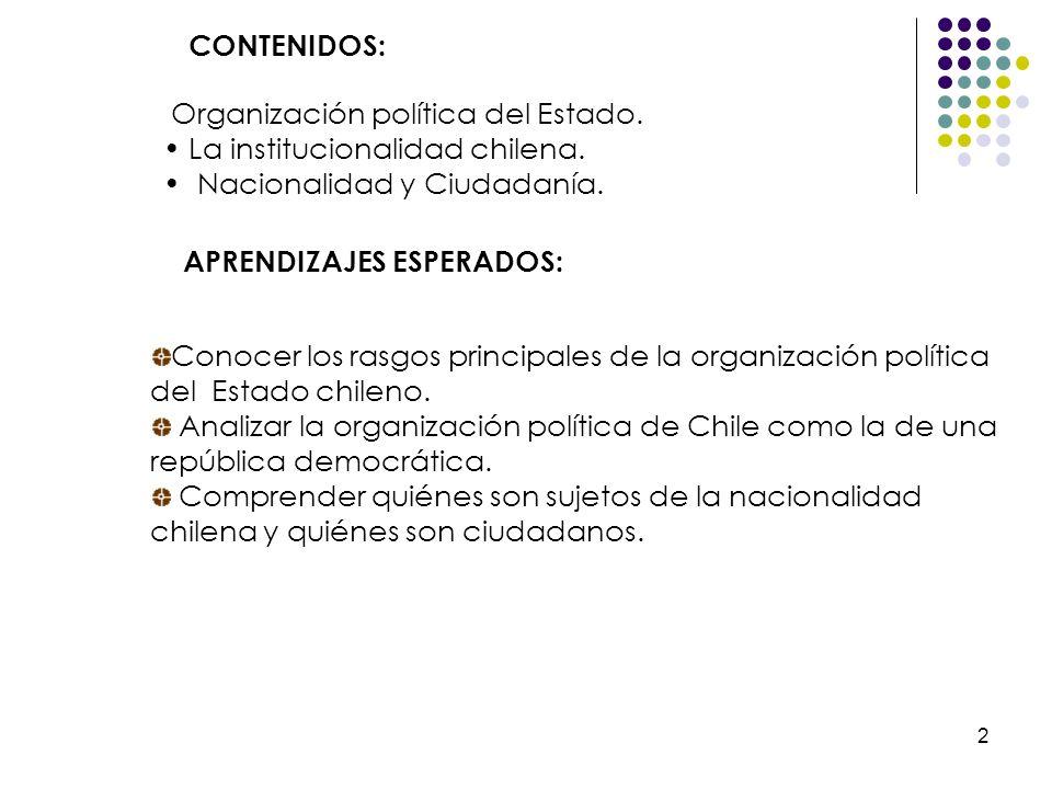 CONTENIDOS:Organización política del Estado. La institucionalidad chilena. Nacionalidad y Ciudadanía.