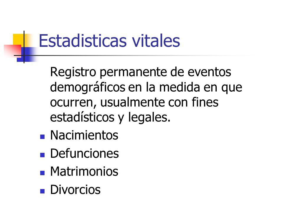 Estadisticas vitalesRegistro permanente de eventos demográficos en la medida en que ocurren, usualmente con fines estadísticos y legales.