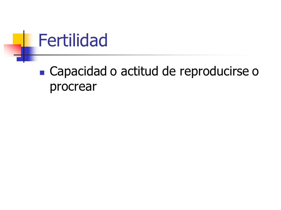 Fertilidad Capacidad o actitud de reproducirse o procrear
