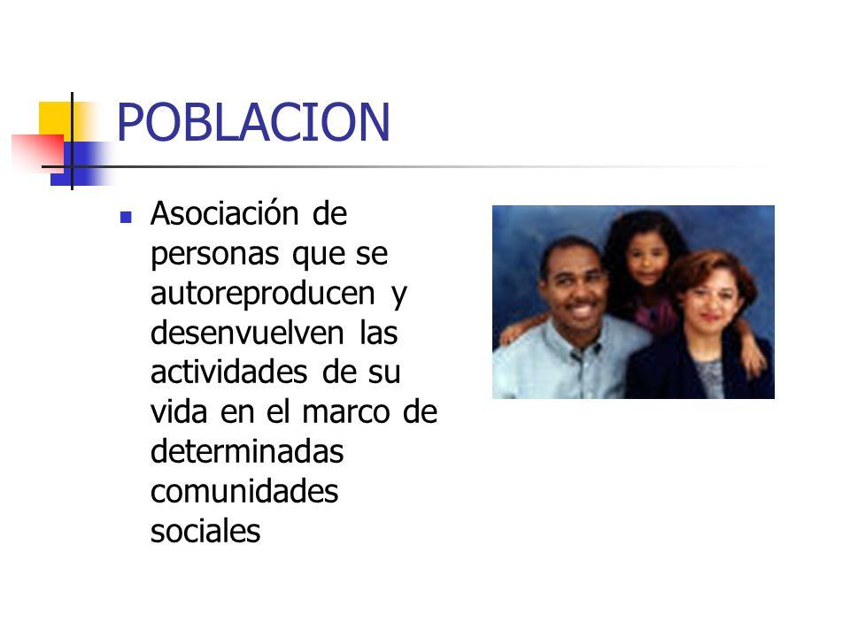 POBLACION Asociación de personas que se autoreproducen y desenvuelven las actividades de su vida en el marco de determinadas comunidades sociales.