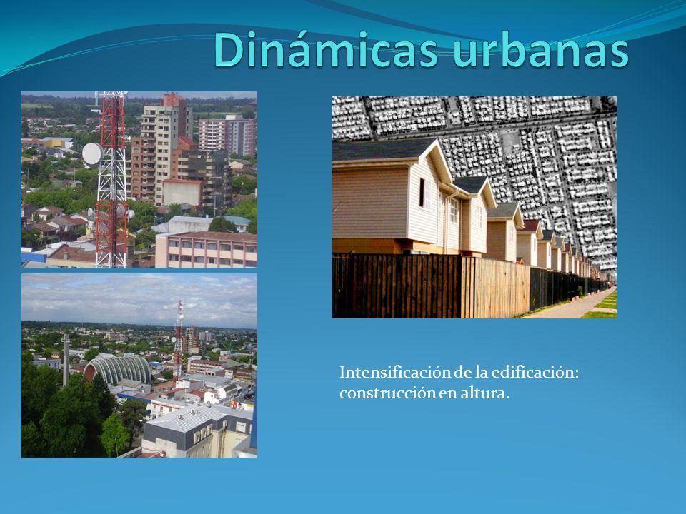 Dinámicas urbanas Intensificación de la edificación: construcción en altura.