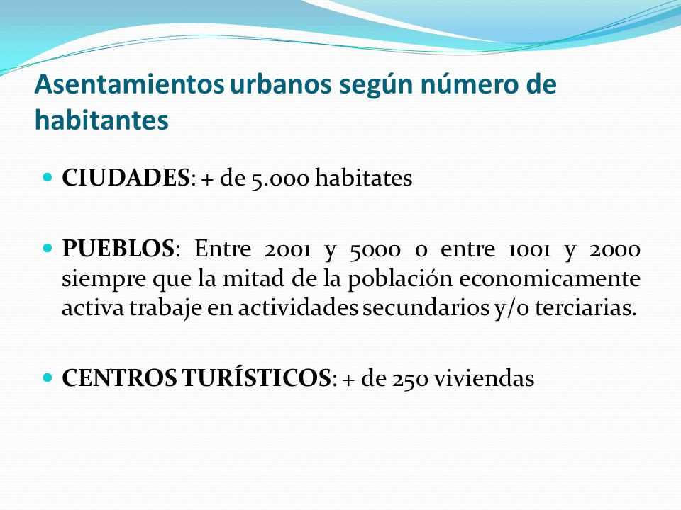 Asentamientos urbanos según número de habitantes