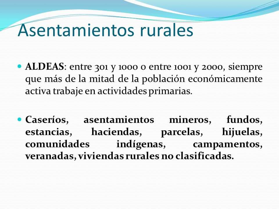 Asentamientos rurales