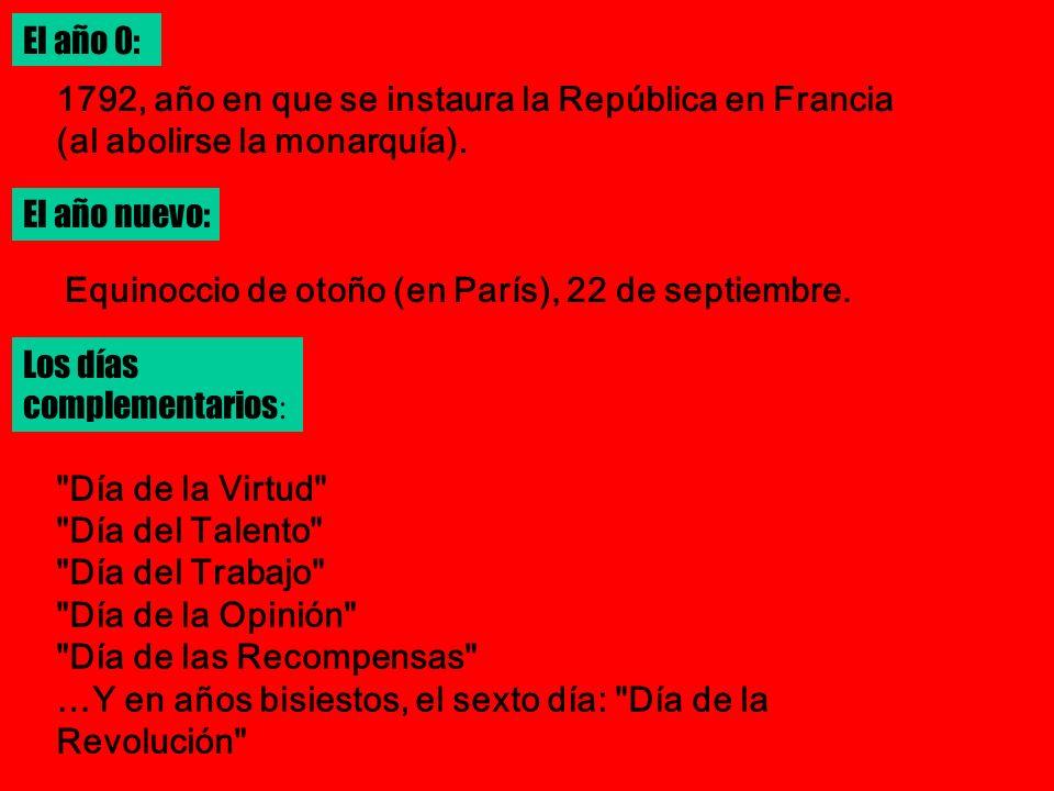 El año 0:1792, año en que se instaura la República en Francia (al abolirse la monarquía). El año nuevo: