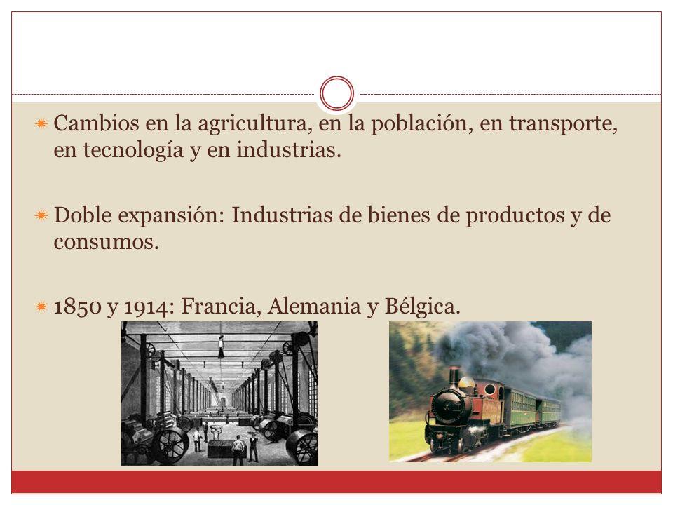 Cambios en la agricultura, en la población, en transporte, en tecnología y en industrias.
