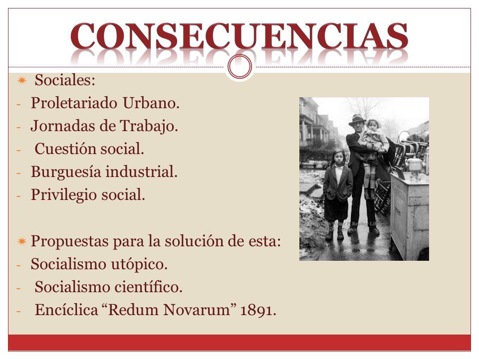 consecuencias Sociales: Proletariado Urbano. Jornadas de Trabajo.