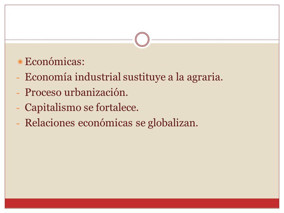Económicas: Economía industrial sustituye a la agraria. Proceso urbanización. Capitalismo se fortalece.