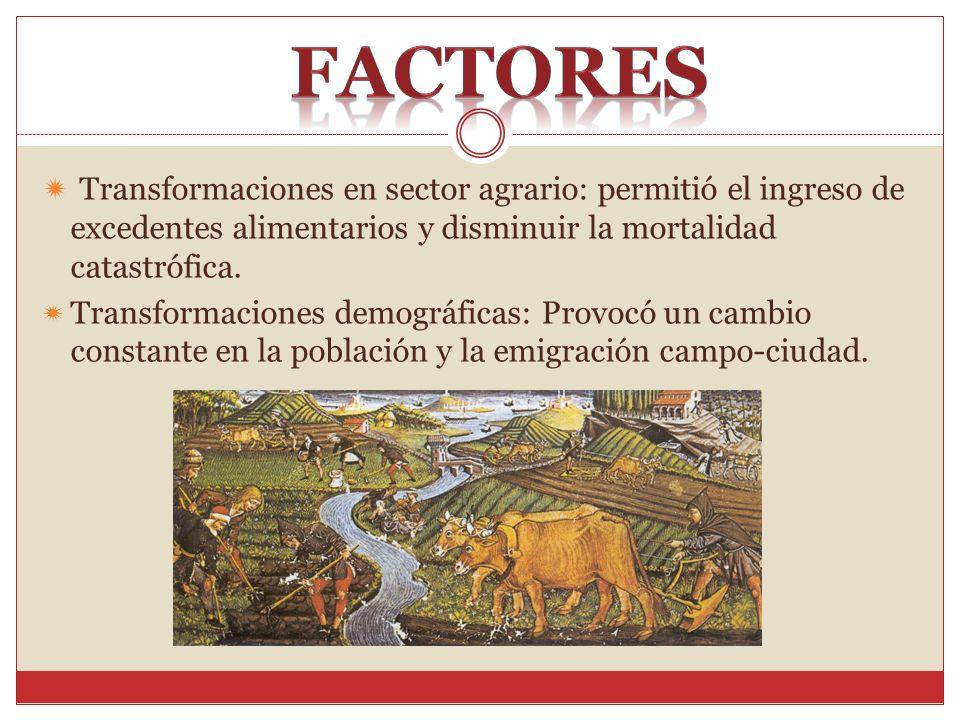 Factores Transformaciones en sector agrario: permitió el ingreso de excedentes alimentarios y disminuir la mortalidad catastrófica.
