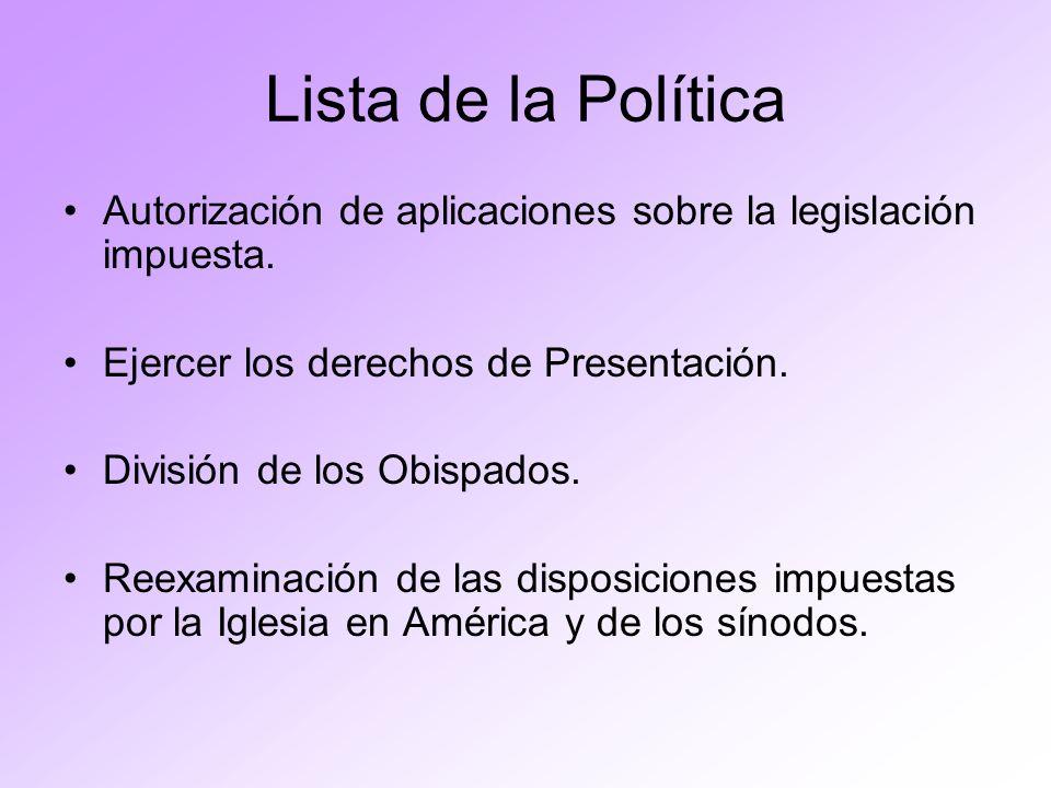 Lista de la Política Autorización de aplicaciones sobre la legislación impuesta. Ejercer los derechos de Presentación.