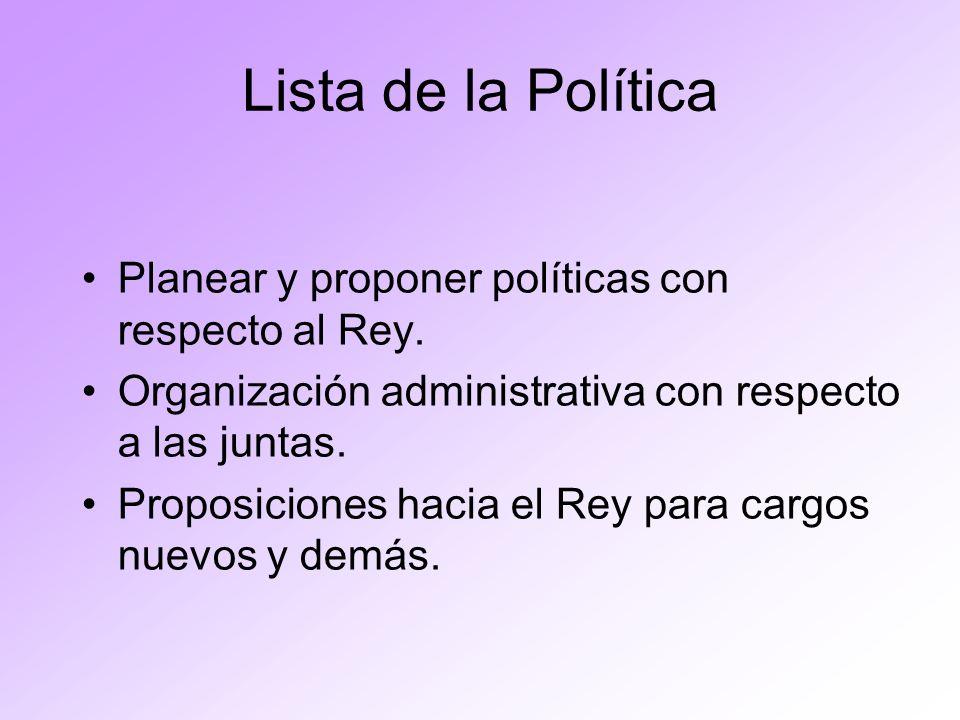 Lista de la Política Planear y proponer políticas con respecto al Rey.