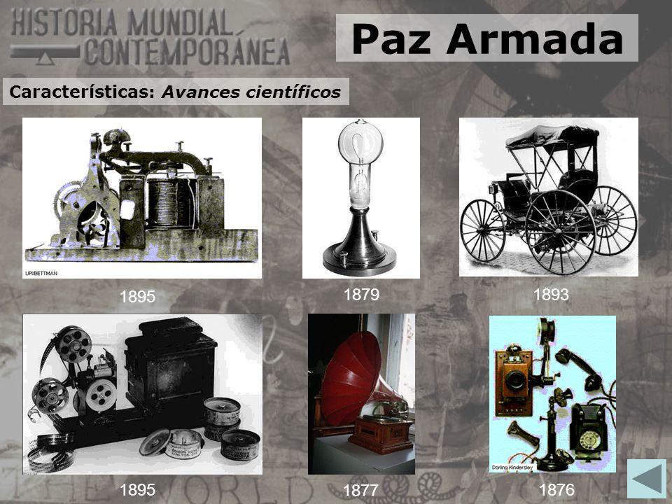 Paz Armada Características: Avances científicos 1895 1879 1893 1895