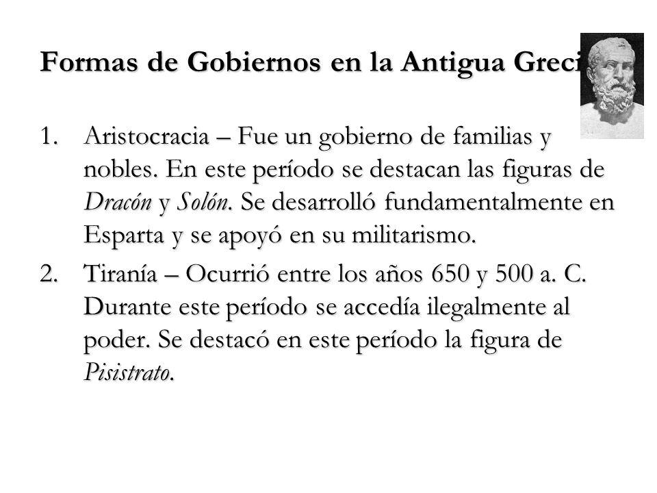 Formas de Gobiernos en la Antigua Grecia