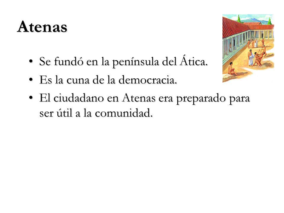 Atenas Se fundó en la península del Ática.