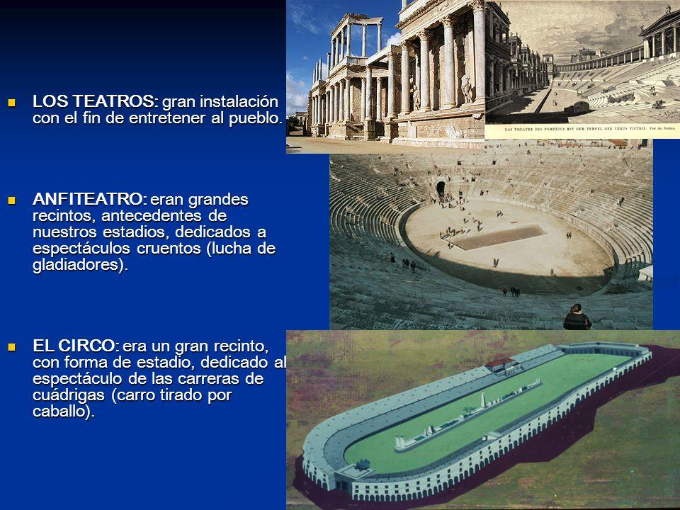LOS TEATROS: gran instalación con el fin de entretener al pueblo.