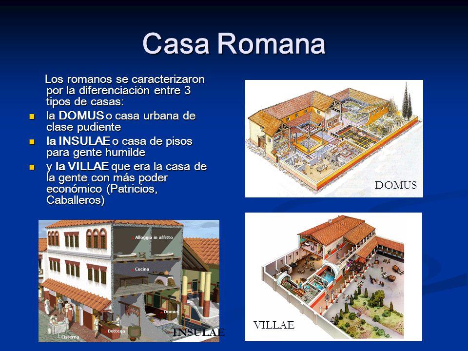 Casa Romana Los romanos se caracterizaron por la diferenciación entre 3 tipos de casas: la DOMUS o casa urbana de clase pudiente.
