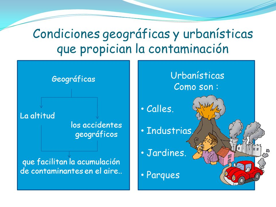 Condiciones geográficas y urbanísticas que propician la contaminación