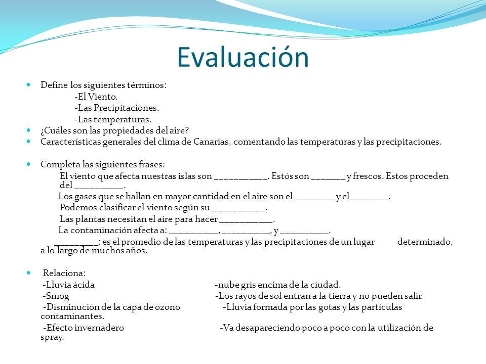 Evaluación Define los siguientes términos: -El Viento.