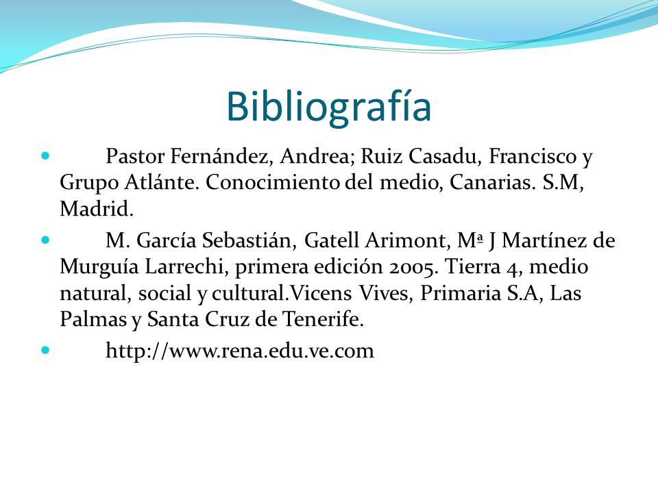 Bibliografía Pastor Fernández, Andrea; Ruiz Casadu, Francisco y Grupo Atlánte. Conocimiento del medio, Canarias. S.M, Madrid.
