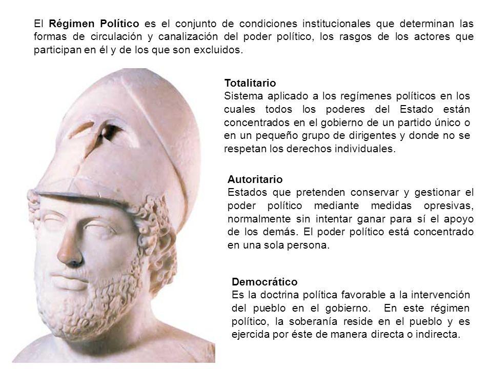 El Régimen Político es el conjunto de condiciones institucionales que determinan las formas de circulación y canalización del poder político, los rasgos de los actores que participan en él y de los que son excluidos.