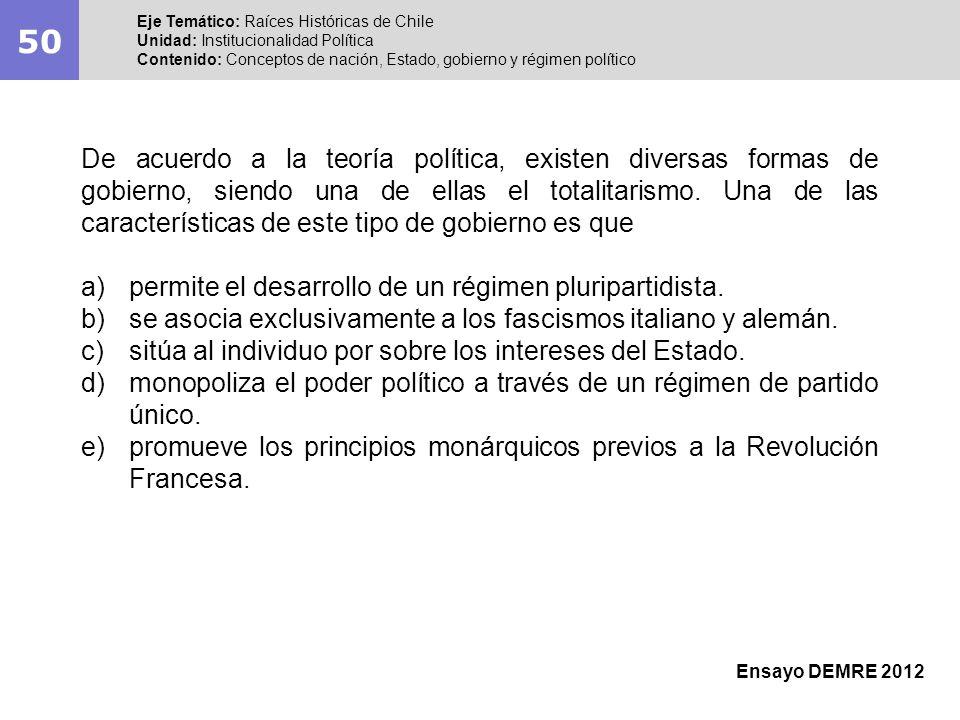 50Eje Temático: Raíces Históricas de Chile. Unidad: Institucionalidad Política. Contenido: Conceptos de nación, Estado, gobierno y régimen político.