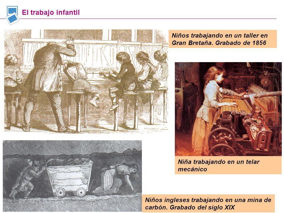 El trabajo infantil Niños trabajando en un taller en Gran Bretaña. Grabado de 1856. Niña trabajando en un telar mecánico.