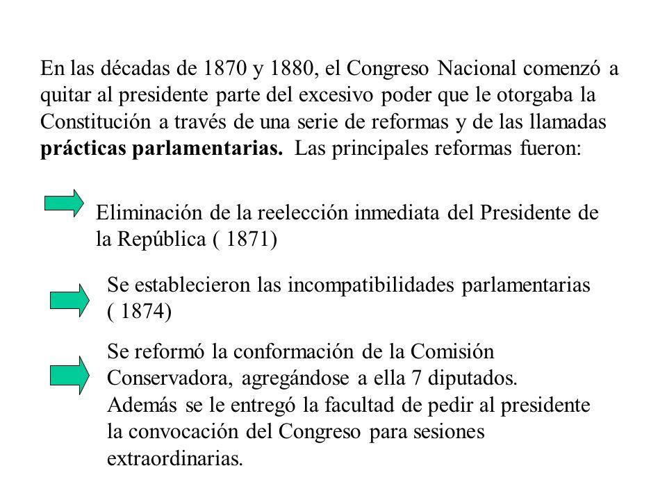 En las décadas de 1870 y 1880, el Congreso Nacional comenzó a quitar al presidente parte del excesivo poder que le otorgaba la Constitución a través de una serie de reformas y de las llamadas prácticas parlamentarias. Las principales reformas fueron: