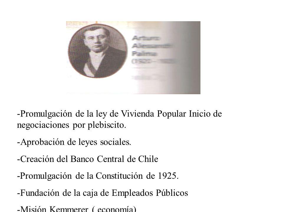 Promulgación de la ley de Vivienda Popular Inicio de negociaciones por plebiscito.