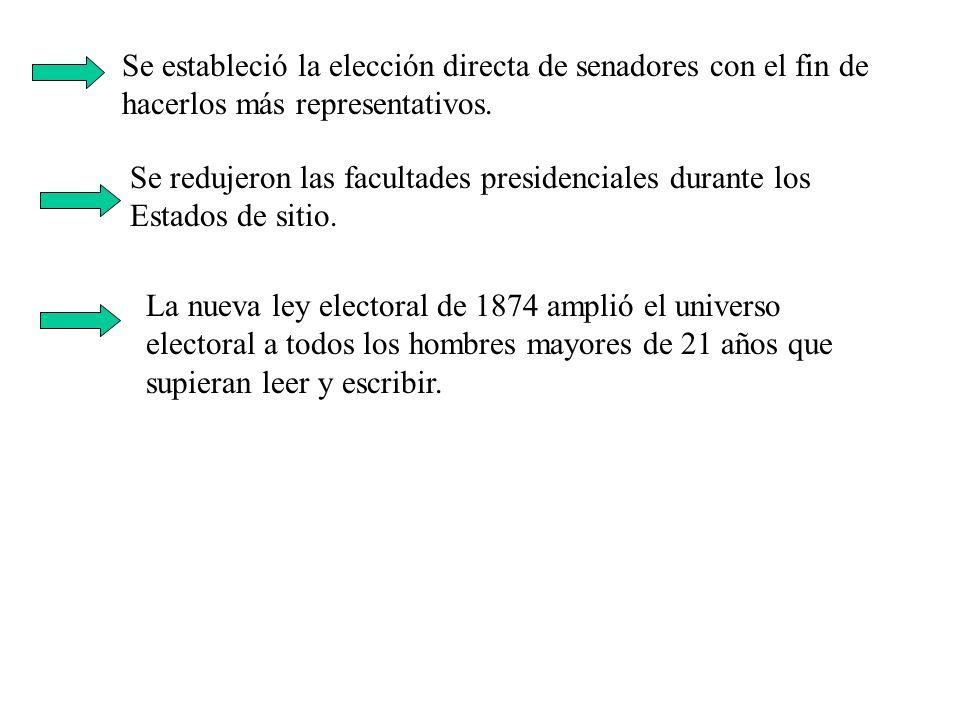 Se estableció la elección directa de senadores con el fin de hacerlos más representativos.