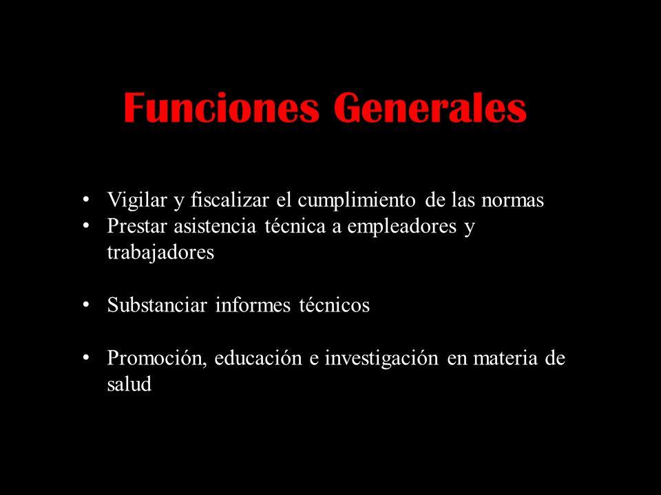 Funciones Generales Vigilar y fiscalizar el cumplimiento de las normas