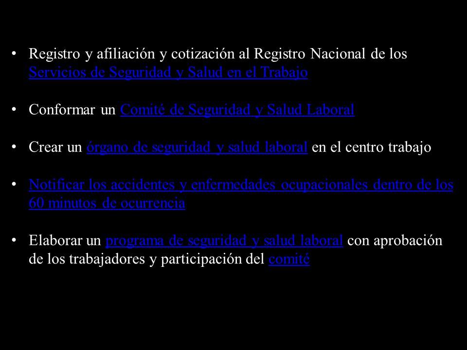 Registro y afiliación y cotización al Registro Nacional de los Servicios de Seguridad y Salud en el Trabajo