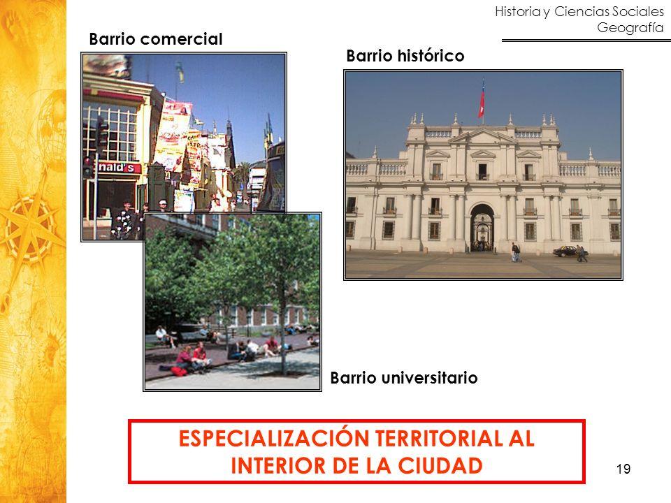 ESPECIALIZACIÓN TERRITORIAL AL INTERIOR DE LA CIUDAD