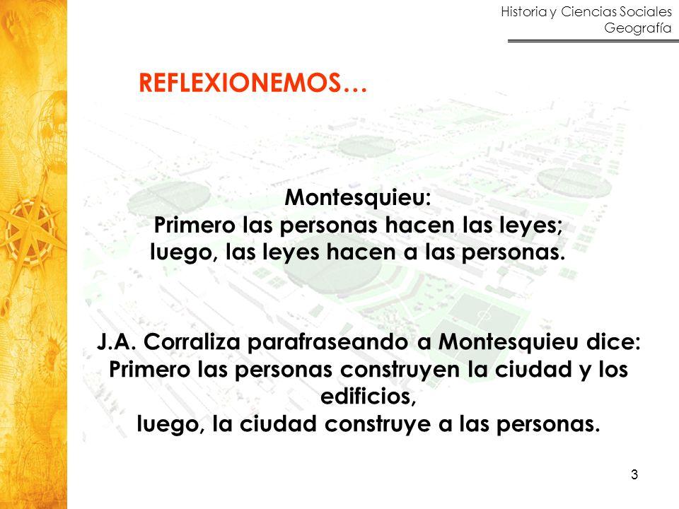 REFLEXIONEMOS… Montesquieu: Primero las personas hacen las leyes;