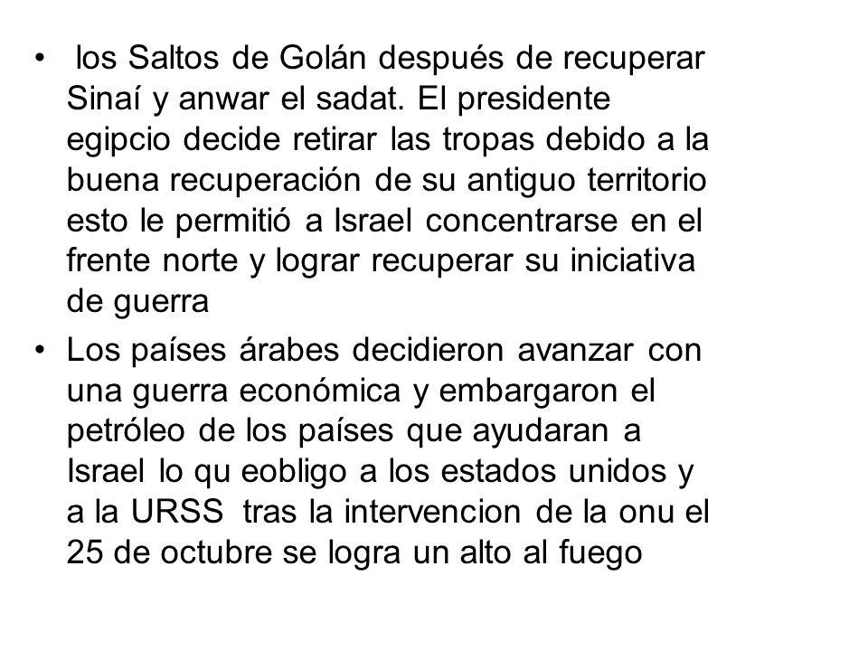 los Saltos de Golán después de recuperar Sinaí y anwar el sadat