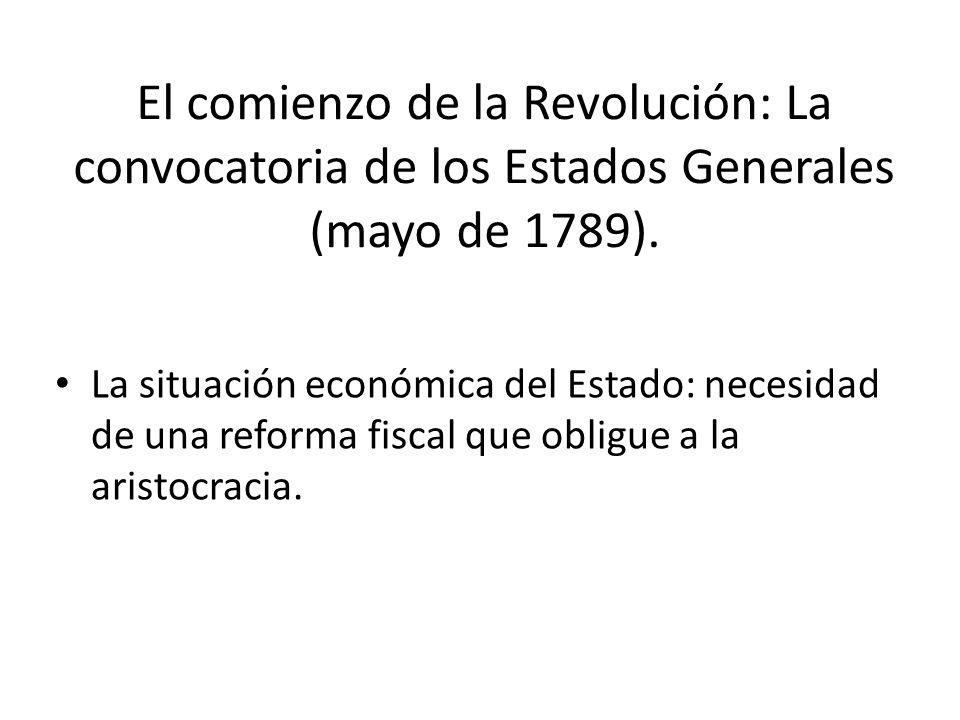 El comienzo de la Revolución: La convocatoria de los Estados Generales (mayo de 1789).