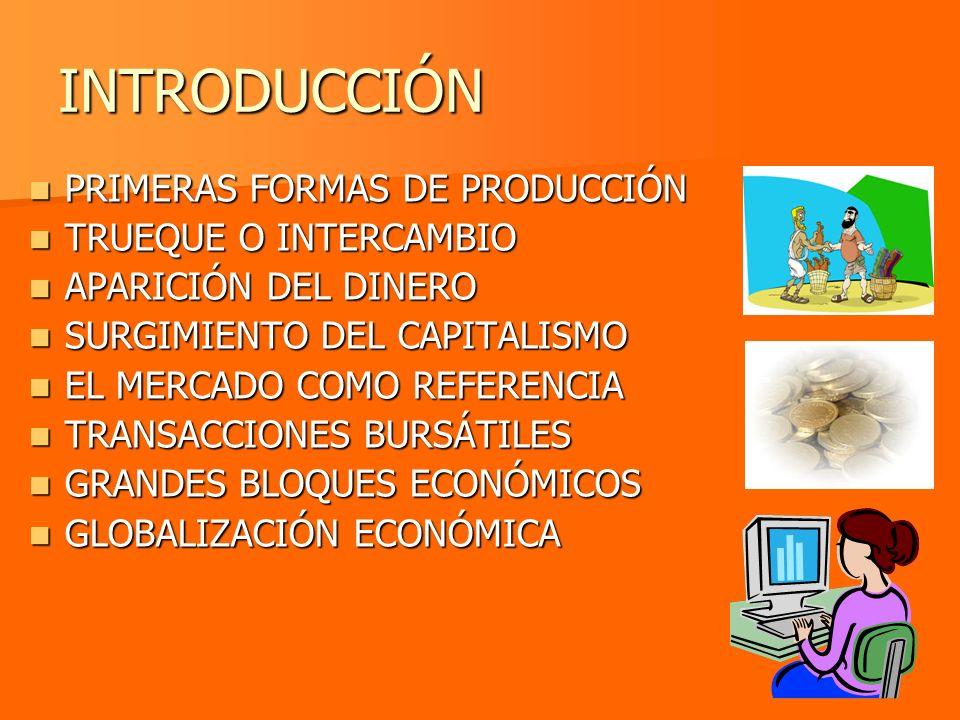 INTRODUCCIÓN PRIMERAS FORMAS DE PRODUCCIÓN TRUEQUE O INTERCAMBIO