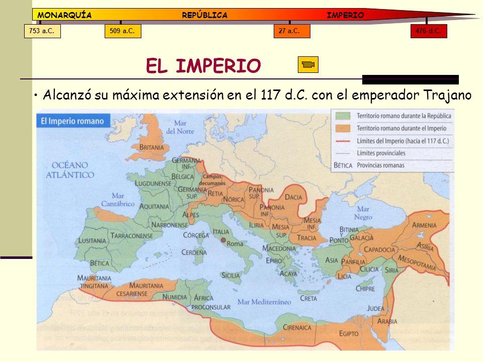 476 d.C. 27 a.C. 509 a.C. 753 a.C. MONARQUÍA REPÚBLICA IMPERIO. EL IMPERIO.