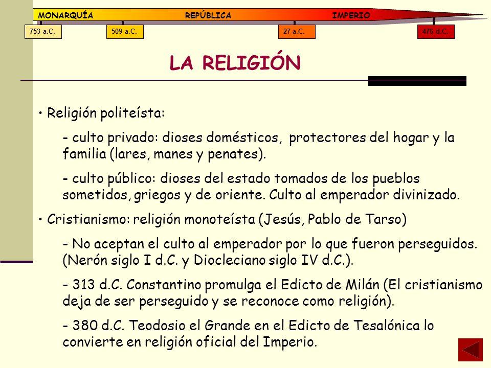 LA RELIGIÓN Religión politeísta: