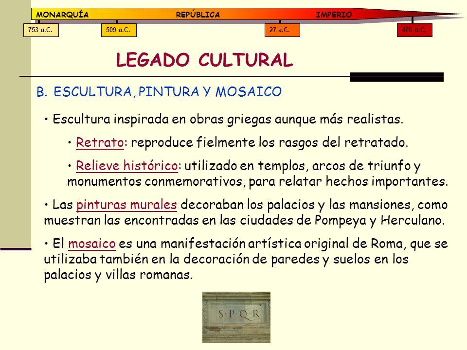 LEGADO CULTURAL ESCULTURA, PINTURA Y MOSAICO