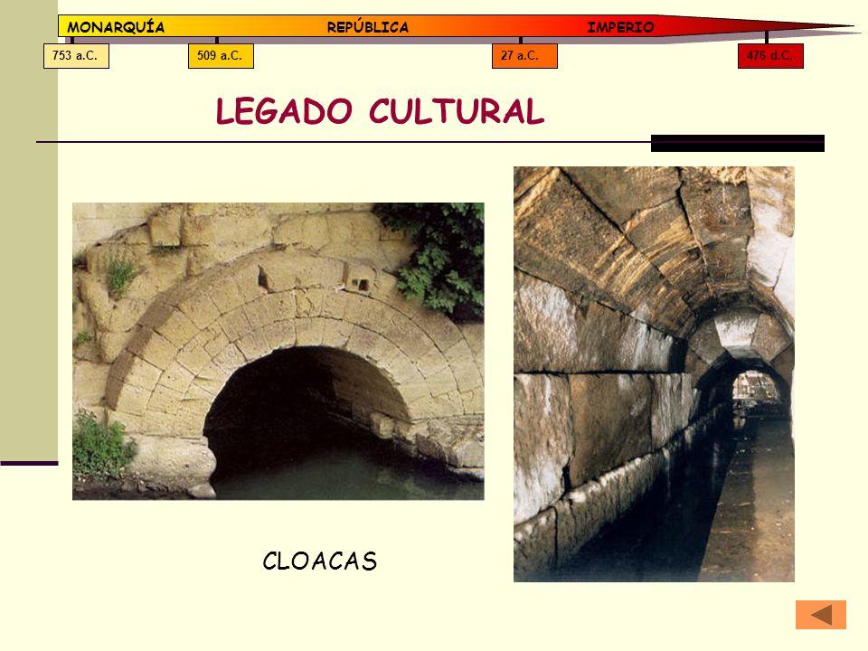 LEGADO CULTURAL CLOACAS MONARQUÍA REPÚBLICA IMPERIO 476 d.C. 27 a.C.