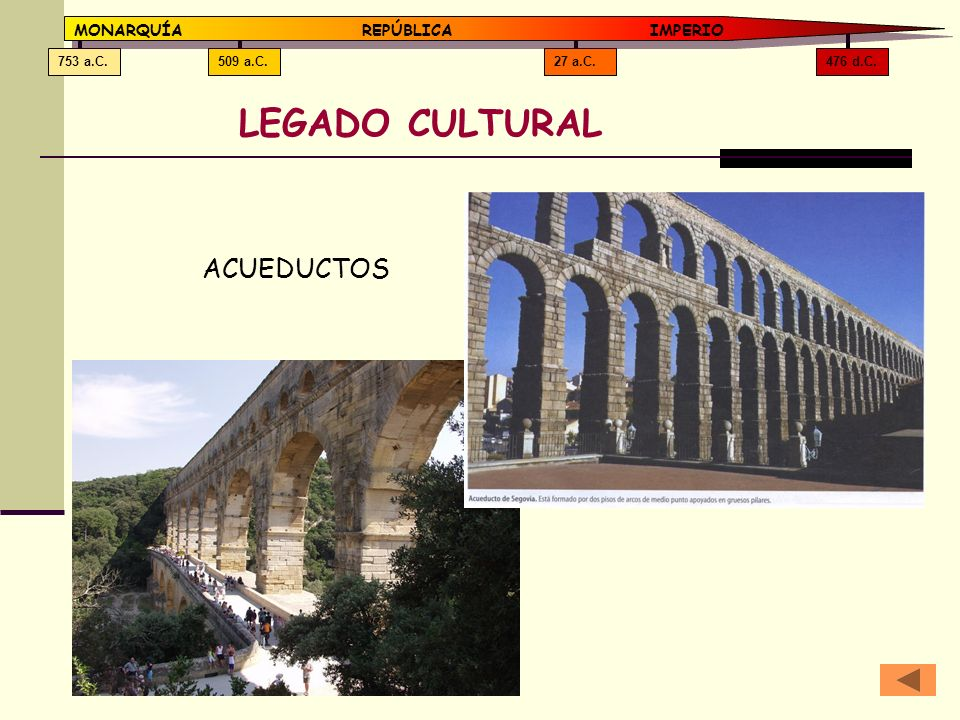 LEGADO CULTURAL ACUEDUCTOS MONARQUÍA REPÚBLICA IMPERIO 476 d.C.
