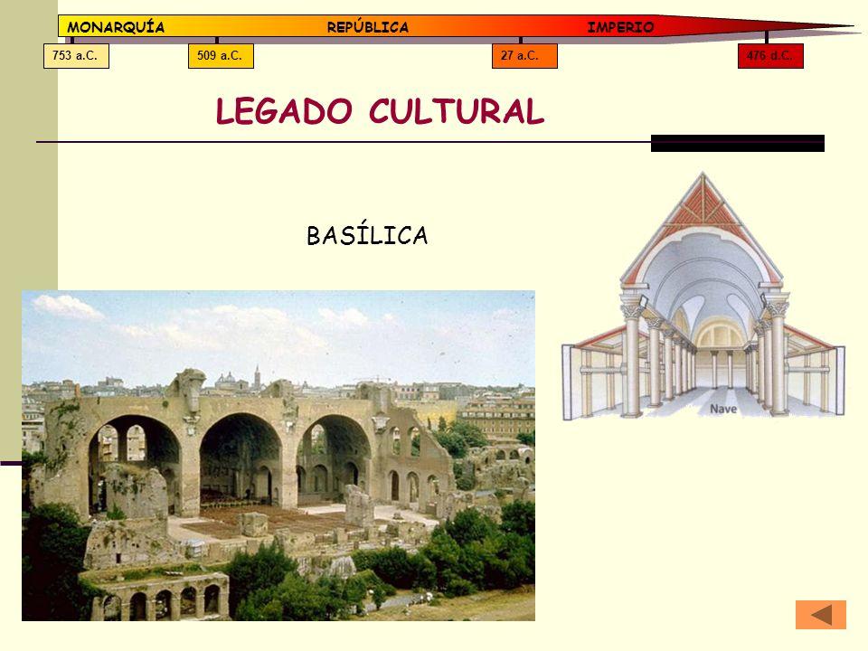 LEGADO CULTURAL BASÍLICA MONARQUÍA REPÚBLICA IMPERIO 476 d.C. 27 a.C.