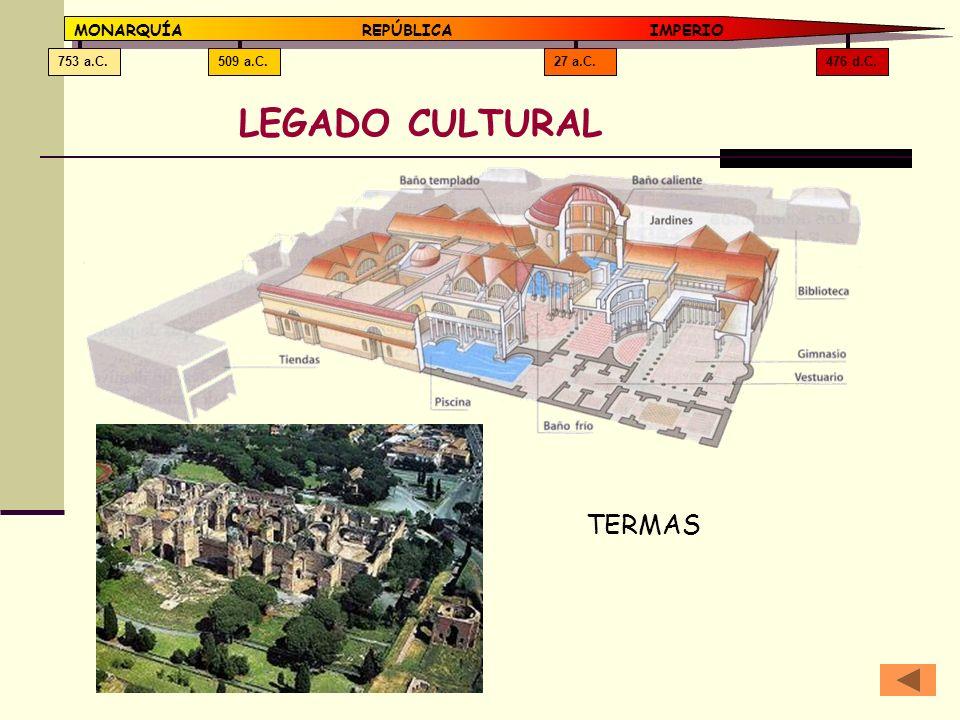 LEGADO CULTURAL TERMAS MONARQUÍA REPÚBLICA IMPERIO 476 d.C. 27 a.C.