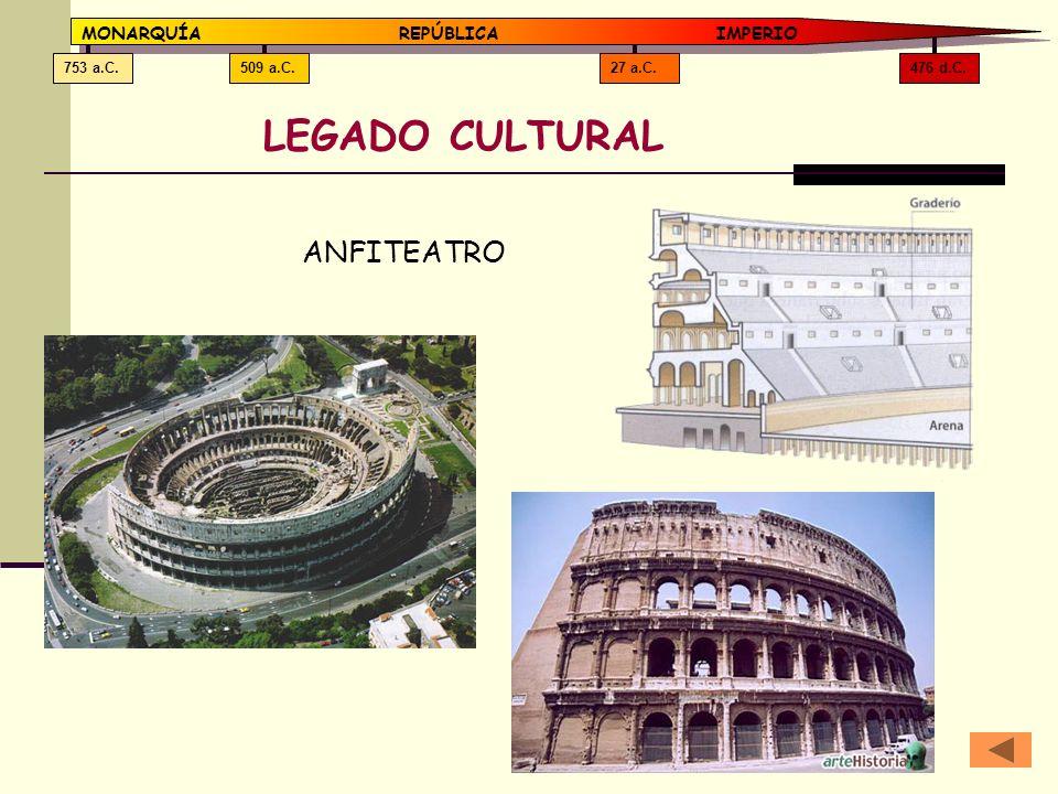 LEGADO CULTURAL ANFITEATRO MONARQUÍA REPÚBLICA IMPERIO 476 d.C.