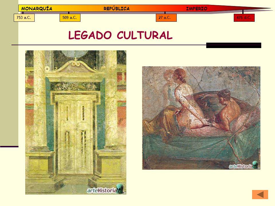 LEGADO CULTURAL MONARQUÍA REPÚBLICA IMPERIO 476 d.C. 27 a.C. 509 a.C.